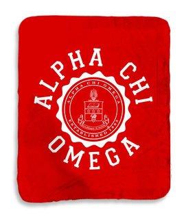 Alpha Chi Omega Seal Sherpa Lap Blanket
