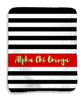 Alpha Chi Omega Stripes Sherpa Lap Blanket