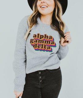 Alpha Gamma Delta Retro Maya Comfort Colors Crewneck Sweatshirt