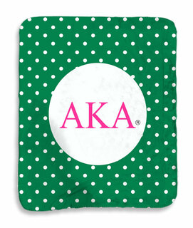 Alpha Kappa Alpha Polka Dots Sherpa Lap Blanket