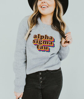 Alpha Sigma Tau Retro Maya Comfort Colors Crewneck Sweatshirt