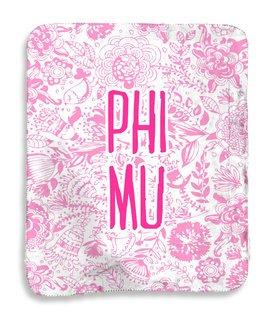 Phi Mu Floral Sherpa Lap Blanket