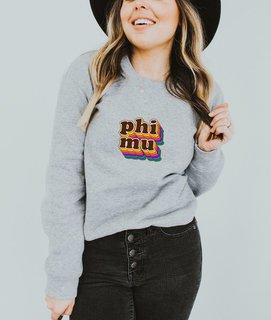 Phi Mu Retro Maya Comfort Colors Crewneck Sweatshirt