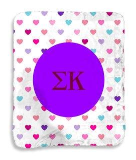 Sigma Kappa hearts Sherpa Lap Blanket