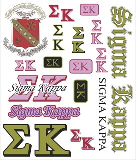 Sigma Kappa Multi Greek Decal Sheet