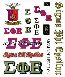 Sigma Phi Epsilon Multi Greek Decal Sticker Sheet