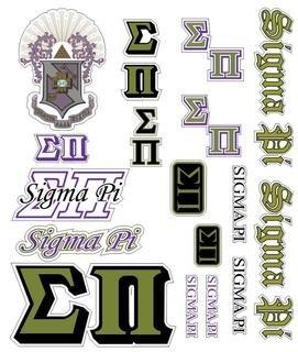 Sigma Pi Multi Greek Decal Sticker Sheet