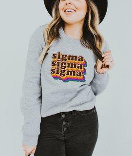 Sigma Sigma Sigma Retro Maya Comfort Colors Crewneck Sweatshirt