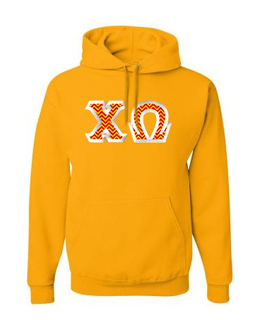 Chi Omega Custom Twill Hooded Sweatshirt