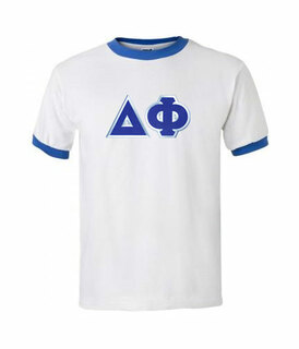 DISCOUNT- Delta Phi Lettered Ringer Shirt