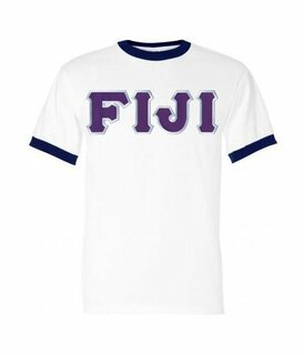 DISCOUNT- FIJI Fraternity Lettered Ringer Shirt