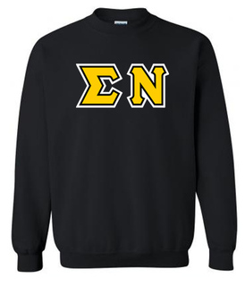 3 Color Greek Lettered Twill Crewneck Sweatshirt - New!