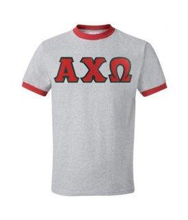 DISCOUNT-Alpha Chi Omega Lettered Ringer Shirt
