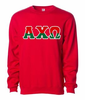 Alpha Chi Omega Two Tone Greek Lettered Crewneck Sweatshirt