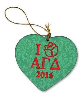 Alpha Gamma Delta Porcelain Heart Christmas Ornament