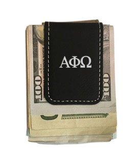 Alpha Phi Omega Greek Letter Leatherette Money Clip