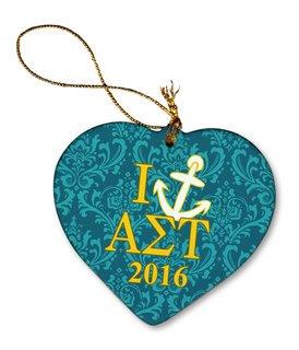 Alpha Sigma Tau Porcelain Heart Christmas Ornament