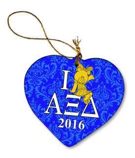 Alpha Xi Delta Porcelain Heart Christmas Ornament