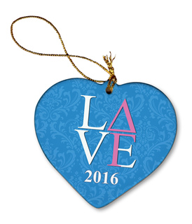 Delta Gamma Porcelain Heart Christmas Ornament