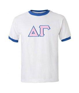 DISCOUNT-Delta Gamma Lettered Ringer Shirt