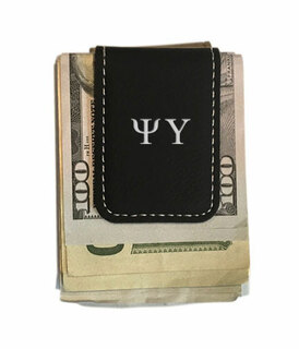 Psi Upsilon Greek Letter Leatherette Money Clip