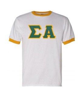 DISCOUNT-Sigma Alpha Lettered Ringer Shirt