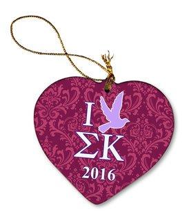 Sigma Kappa Porcelain Heart Christmas Ornament