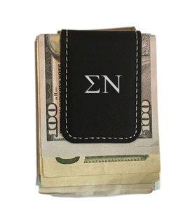 Sigma Nu Greek Letter Leatherette Money Clip