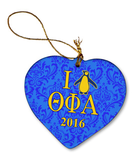 Theta Phi Alpha Porcelain Heart Christmas Ornament