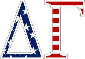 "Delta Gamma American Flag Greek Letter Sticker - 2.5"" Tall"