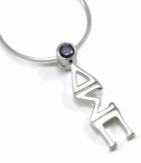 Delta Sigma Pi Sterling Silver Lavaliere Pendant with Purple Crystal