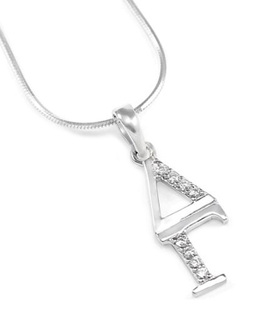 Delta Gamma Sterling Silver Lavaliere set with Lab-Created Diamonds