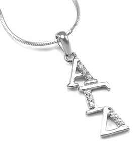 Alpha Gamma Delta Sterling Silver Diagonal Lavaliere set with Lab-Created Diamonds