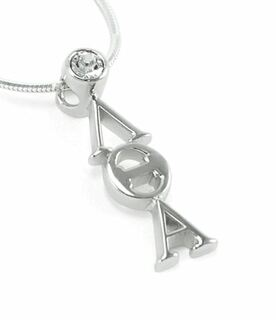 Lambda Theta Alpha Sterling Silver Pendant with Clear Crystal