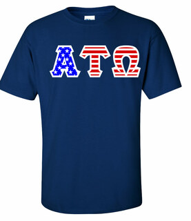 DISCOUNT-Alpha Tau Omega Greek Letter American Flag Tee