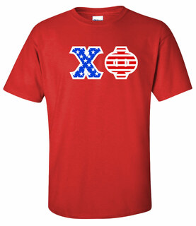 Chi Phi Greek Letter American Flag Tee
