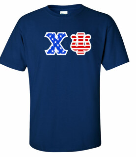 Chi Psi Greek Letter American Flag Tee