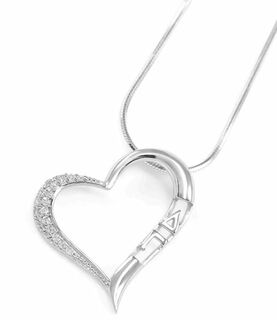 Delta Gamma Sterling Silver Heart Pendant set with Lab-created Diamonds