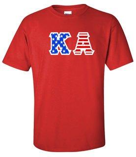 DISCOUNT-Kappa Alpha Greek Letter American Flag Tee