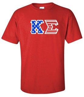 DISCOUNT-Kappa Sigma Greek Letter American Flag Tee