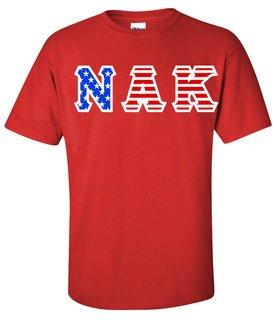 Nu Alpha Kappa Greek Letter American Flag Tee