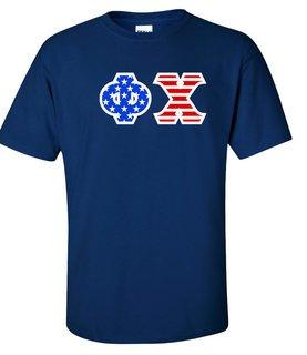 Phi Chi Greek Letter American Flag Tee