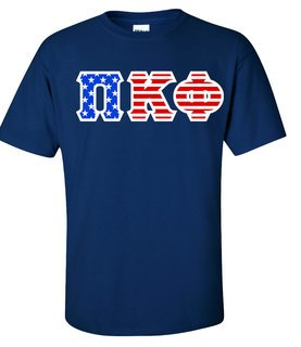 DISCOUNT-Pi Kappa Phi Greek Letter American Flag Tee