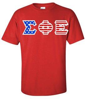DISCOUNT-Sigma Phi Epsilon Greek Letter American Flag Tee