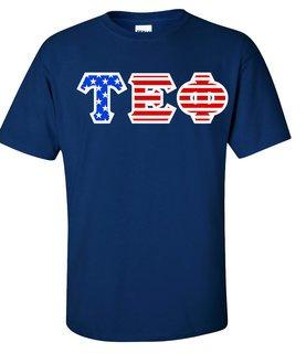 Tau Epsilon Phi Greek Letter American Flag Tee