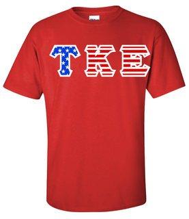 DISCOUNT-Tau Kappa Epsilon Greek Letter American Flag Tee