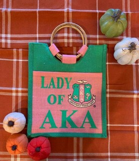 The New Super Savings - Alpha Kappa Alpha Shopping Bag - PINK AND GREEN 1 of 2