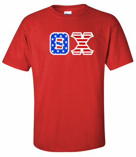 DISCOUNT-Theta Chi Greek Letter American Flag Tee