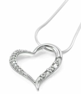 Alpha Xi Delta Sterling Silver Heart Pendant with lab created diamonds