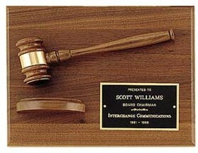 American walnut plaque w/ gavel